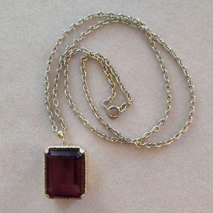 """Vintage 24"""" garnet necklace"""